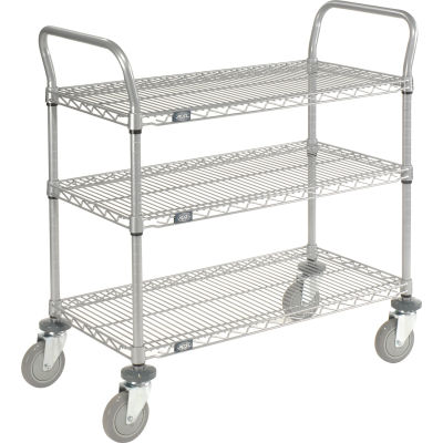 "Nexel® Utility Cart, 3 Shelf, Nexelate® , 60""L x 24""W x 39""H, Polyurethane Casters"