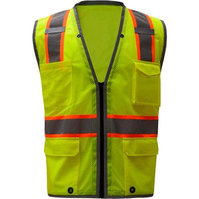 GSS Safety 1701, Class 2 Heavy Duty Safety Vest, Lime, M