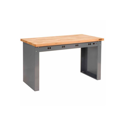 """96""""W x 36""""D Panel Leg Workbench With Power Apron and Maple Butcher Block Square Edge Top"""