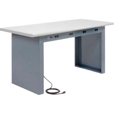 """60""""W x 30""""D Panel Leg Workbench With Power Apron and Plastic Laminate Safety Edge Top"""