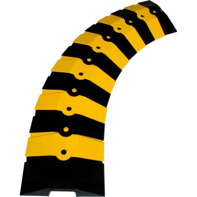 """UltraTech 1830 Ultra-Sidewinder® Cable Protector, Medium, 33"""" x 9 3/4"""" x 1 3/8"""", Black/ Yellow"""