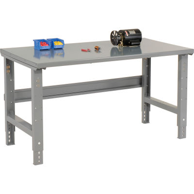 "72""W x 30""D Adjustable Height Workbench C-Channel Leg - Steel Square Edge - Gray"