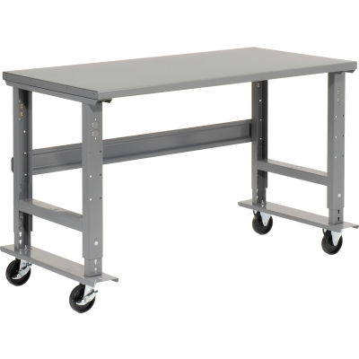 "Global Industrial™ 60""W x 36""D Mobile Adjustable Height C-Channel Leg Workbench - Steel"
