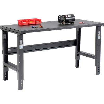 Global Industrial™ 60x30 Adjustable Height Workbench C-Channel Leg - Steel Square Edge - Black