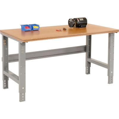 """60""""W x 36""""D Adjustable Height Workbench C-Channel Leg - Shop Top Square Edge - Gray"""
