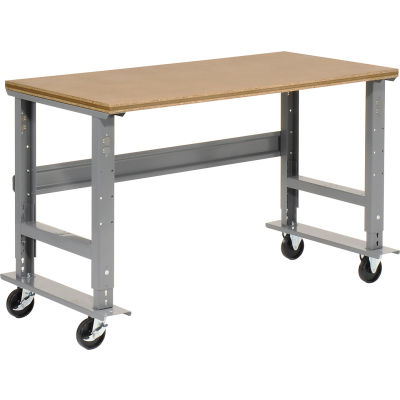 Global Industrial™ 72x36 Mobile Adj. Height C-Channel Leg Workbench - Shop Top Square Edge