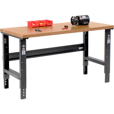 Global Industrial™ 60x36 Adjustable Height Workbench C-Channel Leg - Shop Top Square Edge Black