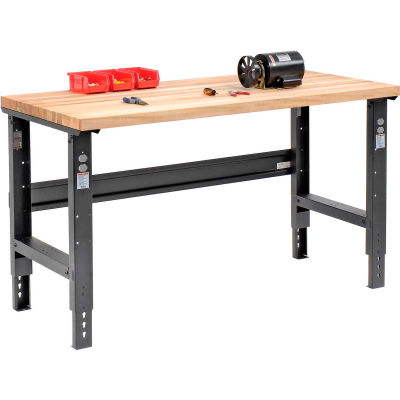 Global Industrial™ 60x36 Adjustable Height Workbench C-Channel Leg - Maple Square Edge - Black