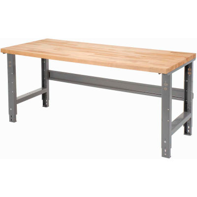 "Global Industrial™ Adjustable Height, C-Channel Leg Workbench, Gray Maple Sq. Edge, 72"" x 30"""