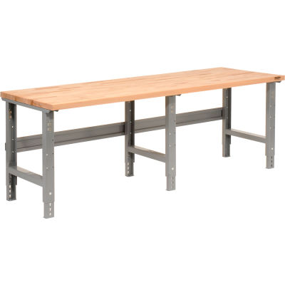 "96""W x 30""D Adjustable Height Workbench C-Channel Leg - Birch Butcher Block Square Edge - Gray"