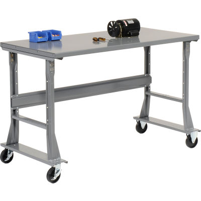 Global Industrial™ 72 x 30 Mobile Fixed Height C-Channel Flared Leg Workbench - Steel - Gray