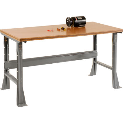 "72""W x 30""D x 34""H Fixed Height Workbench C-Channel Flared Leg - Shop Top Square Edge - Gray"