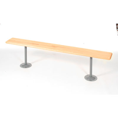 Global Industrial™ Locker Bench Hardwood Top w/Steel Tube Pedestals, Bolt Down, 72 x 9-1/2 x 17
