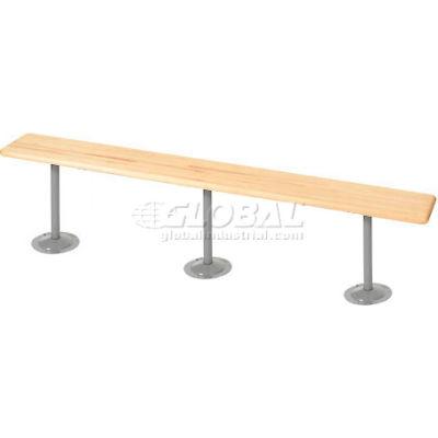 Global Industrial™ Locker Bench Hardwood Top w/Steel Tube Pedestals, Bolt Down, 96 x 9-1/2 x 17