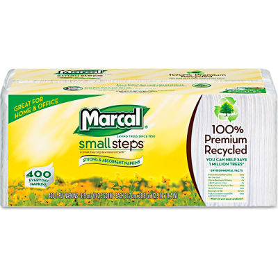 "Marcal® MRC6506CT Lunch Napkins, 12-1/2""W x 11-1/4""D, White, 2400/Carton"