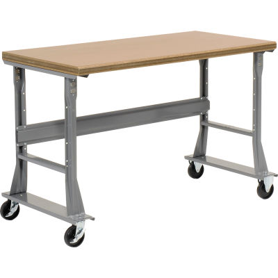 Global Industrial™ 60 x 30 Mobile Fixed Height Flared Leg Workbench - Shop Top Square Edge Gray