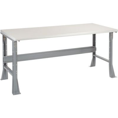 """72""""W x 36""""D x 34""""H Fixed Height Workbench C-Channel Flared Leg - Plastic Laminate Safety Edge - Gray"""