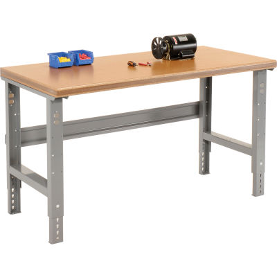 Global Industrial™ 60Wx30D Adjustable Height Workbench C-Channel Leg, Shop Top Safety Edge, GRY