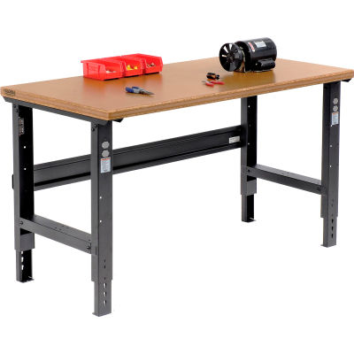 Global Industrial™ 60x30 Adjustable Height Workbench C-Channel Leg - Shop Top Safety Edge Black
