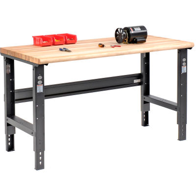 Global Industrial™ 60x30 Adjustable Height Workbench C-Channel Leg - Maple Safety Edge - Black