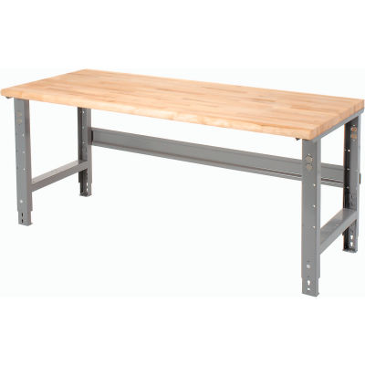 Global Industrial™ 72 x 36 Adjustable Height Workbench C-Channel Leg - Maple Safety Edge - Gray