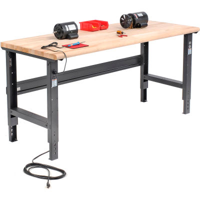 Global Industrial™ 72x30 Adjustable Height Workbench C-Channel Leg - Maple Safety Edge - Black