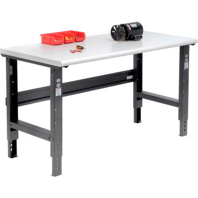 Global Industrial™ 60x30 Adjustable Height Workbench C-Channel Leg - Laminate Safety Edge Black