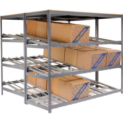 "Global Industrial™ Carton Flow Shelving Double Depth 4 LEVEL 96""W x 72""D x 84""H"