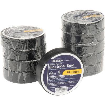 "Shurtape EV 057B Black Electrical Tape, EV 57 3/4"" X 66', 7 mil, Black - Pkg Qty 10"