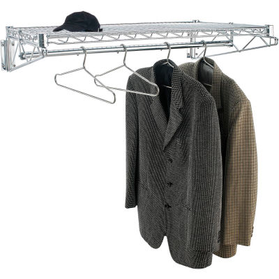 "Chrome Coat Rack with Bars - Wall Mount - 36""W x 24""D x 6""H"