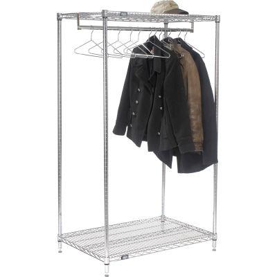 "Free Standing Clothes Rack - 2-Shelf - 48""W x 24""D x 63""H - Chrome"