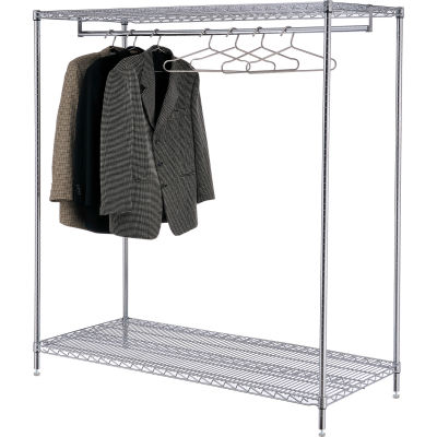 "Free Standing Clothes Rack - 2-Shelf - 60""W x 24""D x 63""H - Chrome"