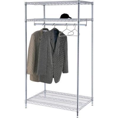 "Free Standing Clothes Rack - 3-Shelf - 36""W x 24""D x 74""H - Chrome"