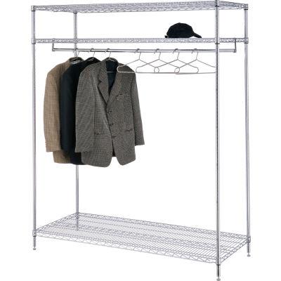 "Free Standing Clothes Rack - 3-Shelf - 60""W x 24""D x 74""H - Chrome"
