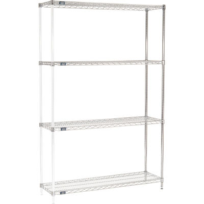 "Nexel® Chrome Wire Shelving Add-On - 48""W x 14""D x 74""H"