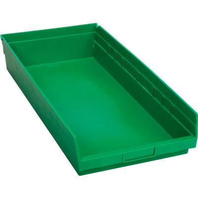 "Global Industrial™ Plastic Nesting Storage Shelf Bin 11-1/8""W x 23-5/8""D x 4""H Green - Pkg Qty 6"