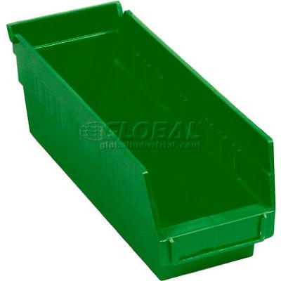 "Global Industrial™ Plastic Nesting Storage Shelf Bin 4-1/8""W x 11-5/8""D x 4""H Green - Pkg Qty 24"