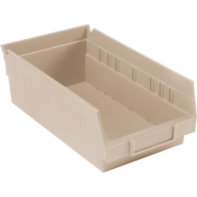 "Global Industrial™ Plastic Nesting Storage Shelf Bin 6-5/8""W x 11-5/8""D x 4""H Beige - Pkg Qty 12"