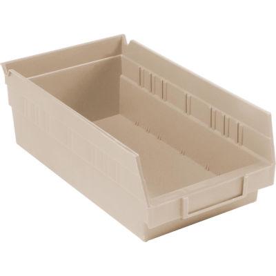 "Global Industrial™ Plastic Nesting Storage Shelf Bin 6-5/8""W x 11-5/8""D x 4""H Beige - Pkg Qty 12"