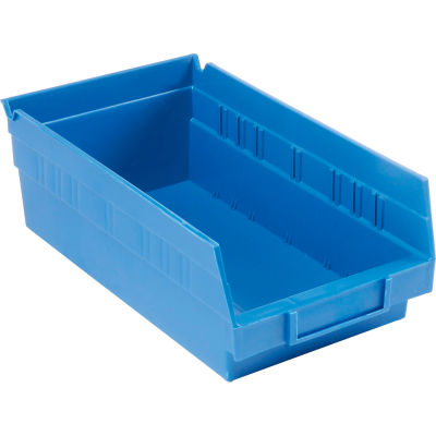 "Global Industrial™ Plastic Nesting Storage Shelf Bin 6-5/8""W x 11-5/8""D x 4""H Blue - Pkg Qty 12"