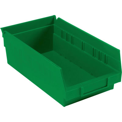 "Global Industrial™ Plastic Nesting Storage Shelf Bin 6-5/8""W x 11-5/8""D x 4""H Green - Pkg Qty 12"