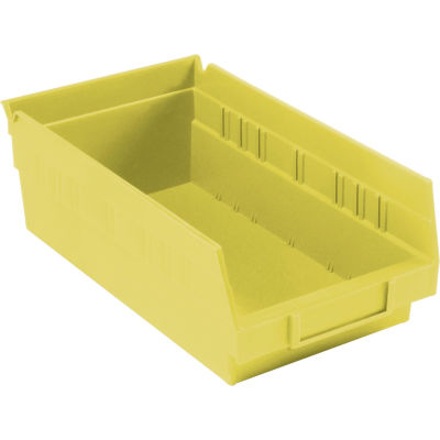 "Global Industrial™ Plastic Nesting Storage Shelf Bin 6-5/8""W x 11-5/8""D x 4""H Yellow - Pkg Qty 12"