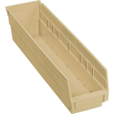"Global Industrial™ Plastic Nesting Storage Shelf Bin 4-1/8""W x 17-7/8""D x 4""H Beige - Pkg Qty 12"