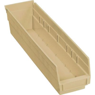 "Global Industrial™ Plastic Nesting Storage Shelf Bin 4-1/8""W x 17-7/8""D x 4""H Beige - Pkg Qty 12"
