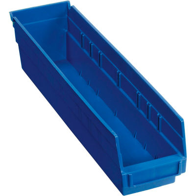 "Global Industrial™ Plastic Nesting Storage Shelf Bin 4-1/8""W x 17-7/8""D x 4""H Blue - Pkg Qty 12"