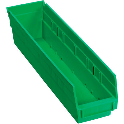 "Global Industrial™ Plastic Nesting Storage Shelf Bin 4-1/8""W x 17-7/8""D x 4""H Green - Pkg Qty 12"