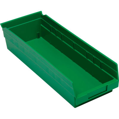"Global Industrial™ Plastic Nesting Storage Shelf Bin 6-5/8""W x 17-7/8""D x 4""H Green - Pkg Qty 12"