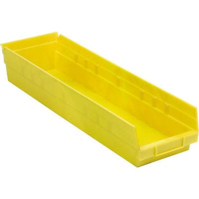 """Akro-Mils® Plastic Nesting Storage Shelf Bin, 6-5/8""""W x 17-7/8""""D x 4""""H, Yellow  - Pkg Qty 6"""
