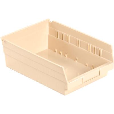 "Plastic Nesting Storage Shelf Bin 8-3/8""W x 11-5/8""D x 4""H Beige - Pkg Qty 12"