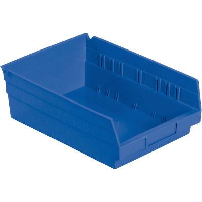 "Global Industrial™ Plastic Nesting Storage Shelf Bin 8-3/8""W x 11-5/8""D x 4""H Blue - Pkg Qty 12"